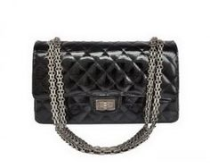 Chanel 2.55 Series 1122 Classic Black Lizardskin Flap Bag Silver Hardware [1122-2988] :