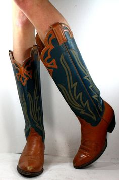 Vintage cowboy cowgirl low heel knee high tall blue tan brown western womens Leather fashion boots 5 M B. $99.99, via Etsy.