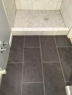 Our Basement Bathroom Reno    Porcelain Tile Floor    Lowes Galvano  Charcoal 12x24; Part 30
