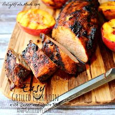 Easy Grilled Pork Loin with Sugar and Spice Rub and Grilled Peaches by DelightfulEMade