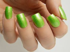 Glam Polish Tinker Bell - a bright lime base packed with silver chrome shimmer. Very fun!...  #acid #bold #neon #shimmer #yellow #nails #nailpolish