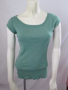Michael Stars Green Shine Scoop Neck Cap Sleeve Tee Shirt OSFM One Size Most #MichaelStars #KnitTop #Casual