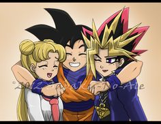 My golden trio by The-PirateQueen @deviantART (Sailor Moon, Dragon Ball, Yu-Gi-Oh) <3