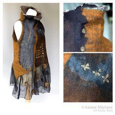 Stunning wearable art women garment nuno felt by ArianeMariane