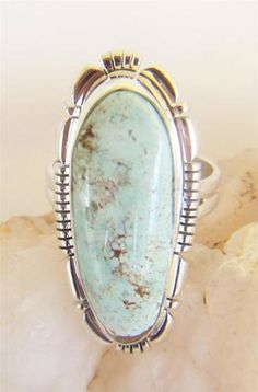Navajo Rose Castillo Sterling Silver Genuine Dry Creek Turquoise Ring
