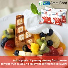 Fruit salad with a pinch of Fresh Cream is what we call Nutritious & Yummy meal. Fresh Cream that will make you Fall in love with Fruits, #Order here :http://www.amritfood.com/shop.php