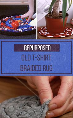 Cleaning out your closet? Go eco-friendly when you turn old T-shirts into this clever braided mat.