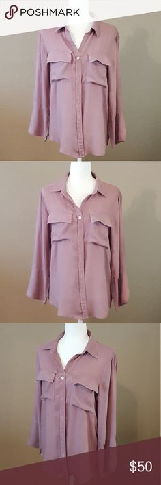 Bloomingdale's Bella Dahl Mauve Button Down EUC! Beautiful Mauve Color. Long Bell Sleeves. Double Pockets on Chest. 100% Rayon. Super Soft. Bella Dahl Tops Button Down Shirts