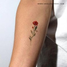 Red rose temporary tattoo designed by tattoo artist Lena Fedchenko in collaboration with small tattoos. Set of 3 temporary tattoos (size: in / cm). These temporary tattoos are: · Safe and non-toxic · FDA compliant and fun for all ages About the artist: