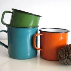 Enamel mugs: remind me of camping trips.