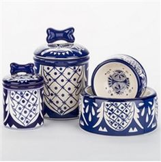 Posh Puppy Boutique is a shop for designer dog clothes and accessories - Mexican Blue & White Bowls & Treat Jars puppy Bowls/Feeding - Treat Jars, pet toys, collars, carriers, treats, stunning bowls, diaper, belly bands, id tags, harnesses, apparel