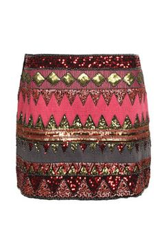 Jess Sequin Aztec Design Mini Skirt