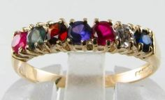 """ENGLISH 9CT GOLD MULTI GEMSTONE """" REGARDS """" RING, FREE RESIZE   $230 by Mondiall (a repro company) Presented here is a gemstone lovers delight. A 9K Handmade, UK hallmarked Classic English REGARDS ring. Consisting of 1 x 1.8mm natural Diamond and 6 x 2.5mm gemstones in the following arrangement  Ruby,Emerald,Garnet,Amethyst,Ruby,Diamond,Sapphire-Blue.(REGARDS)  You have to agree the whole arrangement of gemstones is quite lovely. This is an elegant piece with lovely proportions and is great…"""