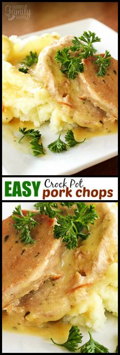 Easy Crock Pot Pork Chops have only 4 ingredients and hardly any prep time! The pork chops slow cook in a delicious creamy savory sauce you will love. via (Healthy Ingredients Crock Pot) Crock Pot Slow Cooker, Crock Pot Cooking, Slow Cooker Recipes, Cooking Recipes, Crockpot Recipes, Healthy Recipes, Porkchop Recipes Crockpot, Crock Pots, Crockpot Dishes