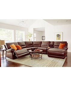 Duncan Leather Seating with Vinyl Sides & Back Sectional Living Room Furniture Reclining Sets & Pieces, Power Recliner - Living Room Furniture - furniture - Macy's