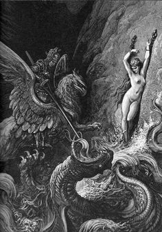 Gustave Dore - Myth of Perseus Gustave Dore, Saint Dominique, Satanic Art, Illustration Art, Illustrations, Arte Horror, Great Paintings, Art Archive, Fantasy Inspiration