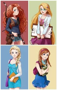 Modern Merida, Rapunzel, Elsa and Anna. as high school students character Disney design drawings