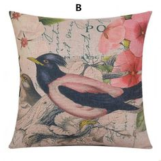 Bird throw pillow decorative home couch cushions 18 inch