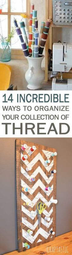 14 Incredible Ways to Organize Your Collection of Thread - 101 Days of Organization Sewing Spaces, My Sewing Room, Sewing Rooms, Sewing Room Organization, Craft Room Storage, Organization Hacks, Organizing, Laundry Craft Rooms, Quilting Room