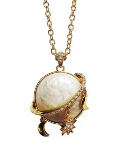 Look what I found on #zulily! Yellow Gold Moon Charm Pendant Necklace by Amabel Designs #zulilyfinds