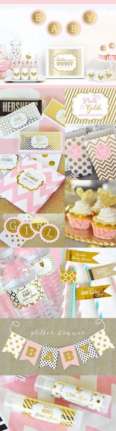Girl Baby Shower Banner Gold Glitter Polka Dot Banner by ModParty
