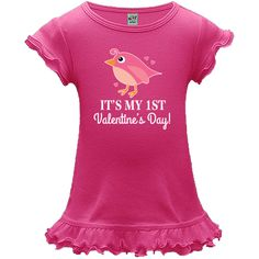 Girls First Valentines Day A-Line Baby Dresses has cute pink bird and hearts for a baby girl celebrating at a party or family gathering. $19.99 www.homewiseshopperkids.com