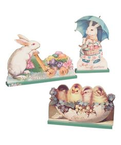 Another great find on #zulily! Large Vintage Easter Die-Cut Decor Set #zulilyfinds
