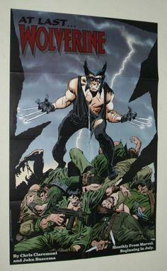 Rare vintage original 1988 X-Men Wolverine 34 x 22 inch Marvel Comics comic book cover artwork promotional promo poster pin-up 1: John Buscema art
