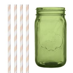Dress My Cupcake DMC35058 Green Vintage Jardin Mason Jar with Ivory Striped Straws 32Ounce *** See this great image @