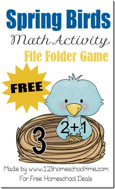 Free File Folder Game Printables: Spring Birds Math Activity