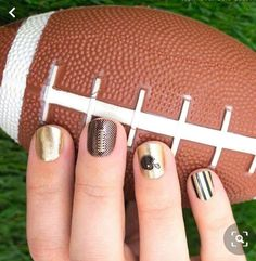 Show your spirit in style by layering these transparent football-inspired nail strips over your team colors! Shown here over Gold Coast, also by Color Street. Each set includes 16 double-ended nail polish strips. Football Nails, Football Soccer, Basketball Hoop, Football Season, Street Football, Clear Nails, Nail Polish Strips, Color Street Nails, Holiday Nails