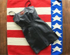Black Leather Mini Dress with Harley Patch