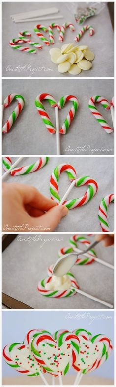 DIY Candy Cane Heart Pops christmas christmas recipes candy canes christmas crafts christmas food christmas party favors christmas deserts christmas food art