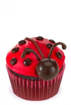Ladybug cupcakes with malt balls, mini m&ms