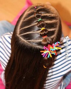 This is a fun idea! Childrens Hairstyles, Cute Hairstyles For Kids, Baby Girl Hairstyles, Princess Hairstyles, Toddler Hairstyles, Braids For Kids, Girls Braids, Ariel Hair, Girl Hair Dos