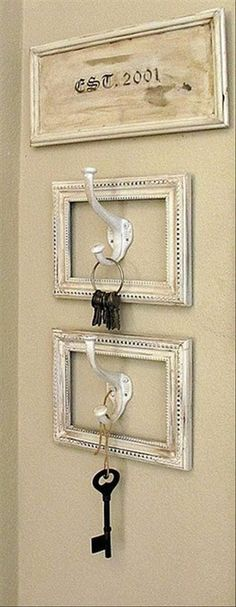 This has lots of cute ways to hang your keys, but I like this one just for the old keys. In the entrance area would be cute.