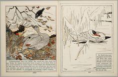 Het leelijke jonge eendje, pag. 24-5: naar het sprookje / van H. C. Andersen ; geteekend en gelithographeerd door T. van Hoytema,Amsterdam, C.M. van Gogh, 1893