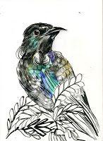 MC drawn: Tui, bird — sketch: watercolour, ink and brush Tui Bird, Bird Sketch, Nz Art, Animal Tattoos, Watercolor And Ink, Artist Painting, Art Inspo, Art Projects, Artsy
