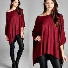 """Antigone"" Asymmetrical Kimono Top Kimono poncho top with low sleeves. Available in burgundy and olive. This listing is for the BURGUNDY. Brand new. True to size. NO TRADES. 95% rayon 5% spandex. Bare Anthology Tops Tees - Short Sleeve"