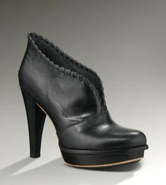 Womens Shoes UGG Australia JAMISON Platform Heels Booties Boots Leather Black