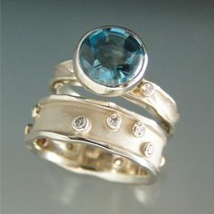 14k white gold, diamonds, topaz. Ann Marie Cianciolo