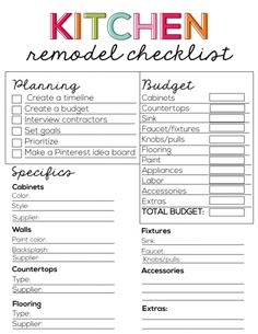 Printable Kitchen Remodel Checklist from www.thirtyhandmadedays.com