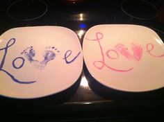 Buy white plates from dollar store and any color acrylic paint. Then paint babies feet with the paint and place feet on plate to make a V. Then write the love onto the plate. Cook plate 260ºF for 30 mins then let cool!