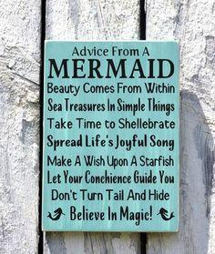Advice From A Mermaid -Beach Decor - Beach Sign - Beach House Wall Art - Nautical Decor - Mermaid Sign - The Sign Shoppe