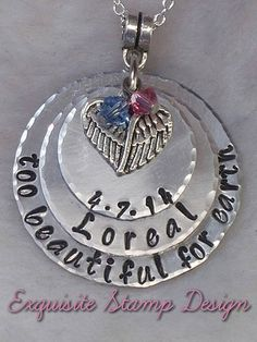 Sympathy Gift - Infant Loss - Miscarriage Keepsake - In Memory Of - Too Beautiful For Earth - Personalized - Pregnancy/Infant Loss