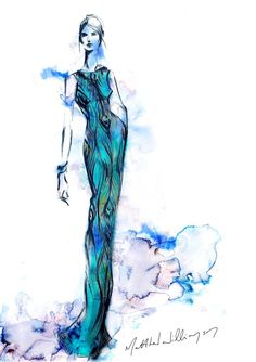 An exclusive sketch of the Matthew Williamson Swarovski crystal-embellished silk-georgette gown from his 15th anniversary collection