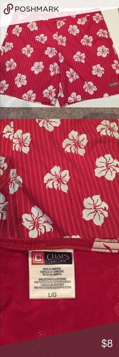 Ralph Lauren Chaps Red Floral Swim Trunks Excellent used condition. Front side pockets and one back pocket, inside lining.  No holes or stains. Size large. Chaps Swim Swim Trunks