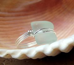 Seaglass Statement Ring:  Silver Wire Wrapped Aqua Seafoam Mint Green Curved Bottle Lip Beach Jewelry, Size 7 on Etsy, $20.00