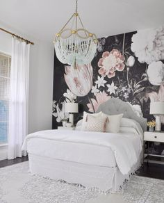 Gorgeous floral wallpaper in bedroom