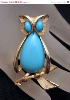 Crown Trifari Figural Owl Brooch by GrapenutGlitzJewelry,